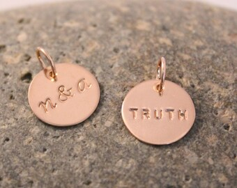 "Rose gold filled initial charm, add on charm, personalized hand stamped initial charm - 1/2"" (12.7mm)"