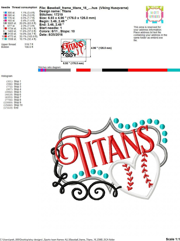 Embroidery design 5x7 6x10 Titans Baseball softball frame, baseball ...