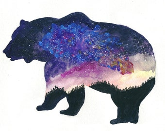 Watercolor Print / Abstract Print/ Grizzly Galaxy Painting / Watercolor Wall Art / Nature Print