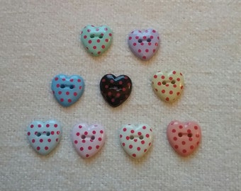 9 heart shaped spotty buttons in variety of colours, red dots. #01B