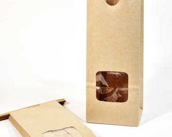 Kraft Tin Tie Window Bag (10) * 3 3/8 x 2 1/2 x 7 3/4 * 1/2 lb size * coffee bag * cookie bag * lunch bag * FDA approved