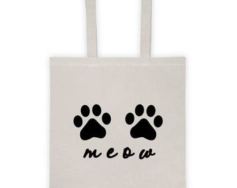 Meow Tote Bag, Cat Tote Bag, Cat Lover Gift, Paw Print Bag, Cat Lover Tote Bag, Cat Paw Tote Bag, Cat Lady Bag, Cat Paw Bag, Pawprint Tote