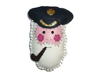 Nautical Leather Captain Fishcake Sailor Brooch