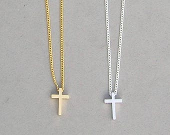Cross Necklace Silver or Gold Plated