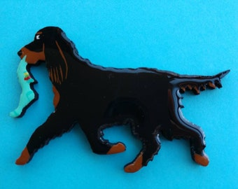Gordon Setter Pin, Magnet or Ornament-Free Shipping-Hand Painted