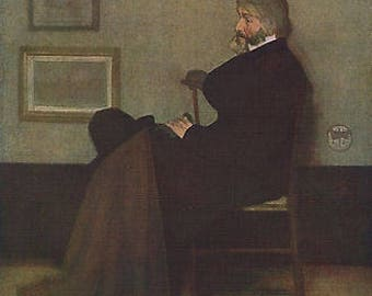 "James McNiel Whistler 1872 Oil Painting ""Thomas Carlyle"" Vintage Classic Artwork 1930 Portriat Book Print"
