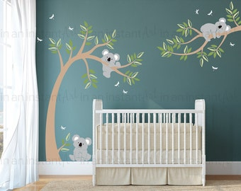 Koala Wall Decal | Koala Bear Tree Wall Decal | Koala Wall Sticker Set |  Koala