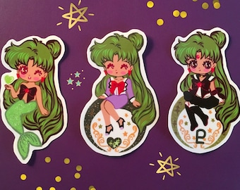 Sailor Pluto glossy Vinyl sticker set of 3