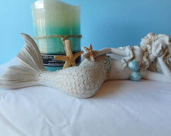 Sea Shell Mermaid- Mermaid Art- Mermaid With Shells-Mermaid Figurine-Table Top Mermaid-Lying Down Mermaid