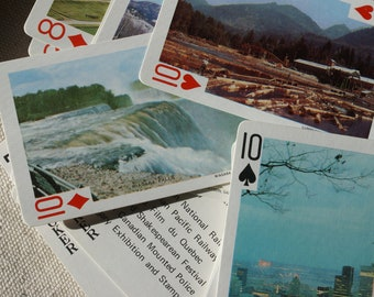 Playing Cards - 52 Different Canadian Scenes - Plastic Coated Playing Cards - Vintage Playing Cards