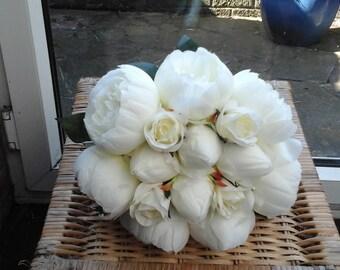 wedding ivory peony bouquet brides bouquet silk bouquet wedding bouquet ivory bouquet ivory silk bouquet