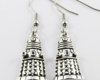 Inspired by Dr Who Dalek Charm Hook Earrings 41mm Stainless Steel Hooks