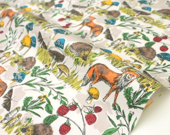 Japanese Fabric Fox Forest - grey taupe - 50cm