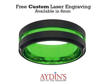 Mens Wedding Band  Tungsten Ring  Black and Green Tungsten  Acid Green  Beveled Edge  Tungsten Wedding Band