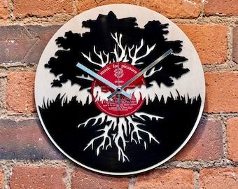 Oak Tree Record Style Clock