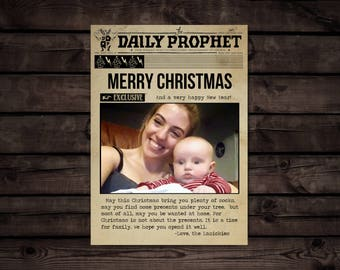 Harry Potter Inspired Photo Daily Prophet Christmas Card // Editable PDF // Digital File Instant Download