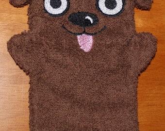 Child Size Embroidered Cotton Terry Cloth Bath Mitt Doggy Puppet Dark Brown and Black Puppy Wash Cloth