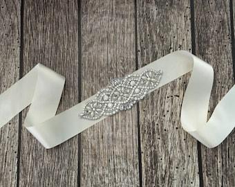 Ivory wedding sash, rhinestone wedding sash, all white sash, wedding belt, simple wedding sash, ivory sash
