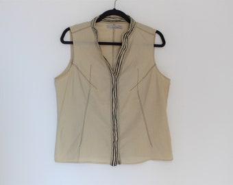 Beige Corset Top MEXX Sleeveless Linen Blouse Mandarin Collar Boho Folk Feminine Sleeveless Summer Linen Cotton Blouse Medium to Large