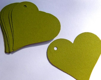 50 paper heart tags - moss green tags - use for wedding favor tags, gift tags, paper ornaments