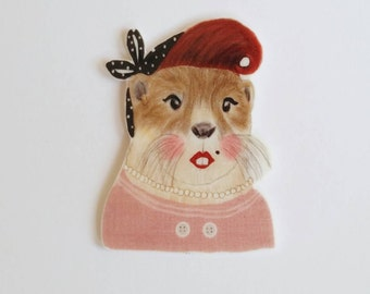 Brooch // Pin // Otter // Retro // shrink plastic // Illustrated jewelry // quirky jewelry // pink // statement