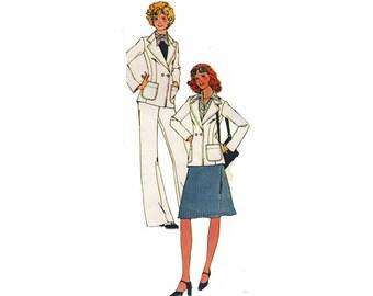 des années 1970 non doublés, cranté col veste 4935 féminines de McCall, jupe trapèze, évasés Pantalon taille 10 ||Buste en 32,5 /83cm|| Patron de couture vintage