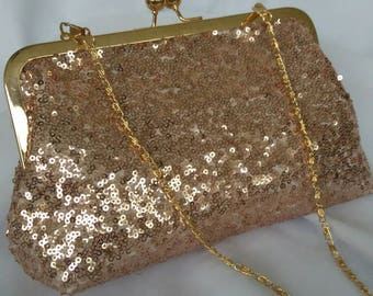 Rose gold sequin wedding evening prom summer clutch purse BBsCustomClutches