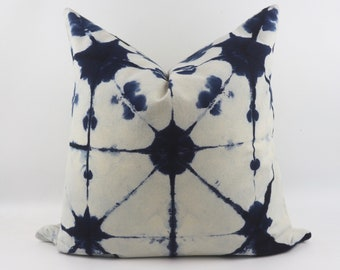 Tie Dye Indigo Cushion Pillow Cover by Shibori Technic from 100% Cotton 20 x 20  Inches, Tie Dye Pillow, Blue Pillow, Shibori Pillow