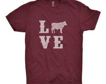 Love Beef T-Shirt for Beef Fans and BBQ Lovers