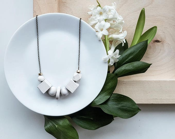 Featured listing image: Greta Necklace | Petite geometric bead | Cream