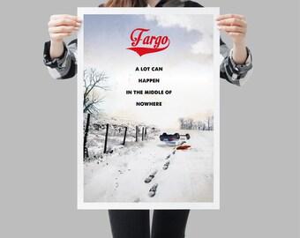 Fargo retro travel poster movie. Vintage snowy North Dakota landscape - Available in different sizes. Film quote art print