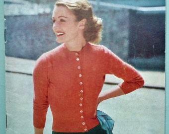 Vintage 1950s Knitting Sewing Needlecraft Magazine - Stitchcraft November 1952 - 50s knitting patterns women's cardigans jacket dog coat