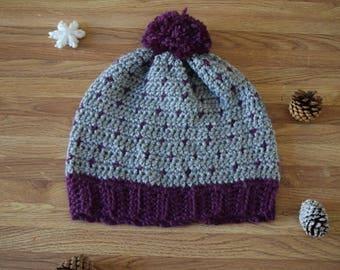 Polka dot crochet beanie/ winter fashion hat/ pompom beanie