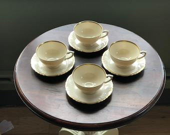 Syracuse Old Ivory Coffee Cups and Saucers - Brantley