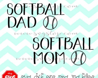 Softball Mom & Softball Dad Designs Svg Dxf Jpg Eps Png files for Cricut, Silhouette, Vinyl Cutters and Printing Projects