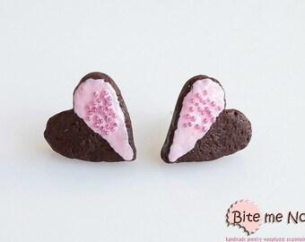 Heart Cookies Stud Earrings - Food Jewelry, Cookie Earrings, Strawberry Cookies, Cookies Posts, Biscuit Earrings, Mini Cookies