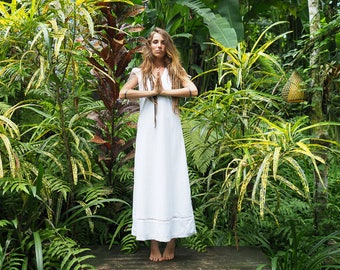Earth Angel- size 6-10 organic cotton lace flowing bohemian gypsy long dress