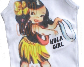 Hawaiian hula girl tee shirt tank vintage inspired childrens tshirt, tank Hula Girl hawaiian