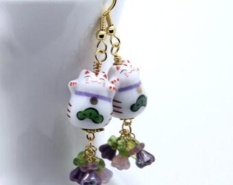 Happy Cat Earrings - Purple Czech Glass Flowers, Maneki-Neko Beckoning Cat Beads, Gold Stainless Steel Earwires