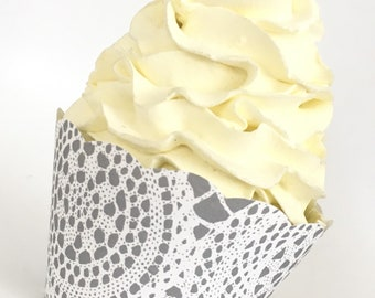 Lace Cupcake Wrappers Boho Vintage Look Weddings Showers