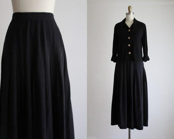Ash Black Silk Maxi Skirt by Etsy