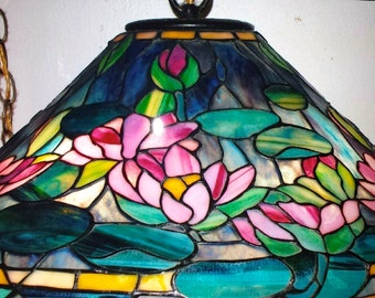 Tiffany lamp lily etsy sorry sold tiffany style water lily stained glass lamp shade one of a kind aloadofball Gallery