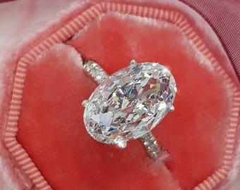 2.40 Carat Diamond Engagement Ring, 18k White Gold Diamond Ring, Oval Diamond Ring , Diamond Ring,Unique Ring,Big Diamond Ring,Free Shipping
