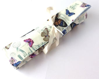 Knitting Needle Roll - Butterfly Fabric Knitting Case, Needle Holder, Gift for Knitter