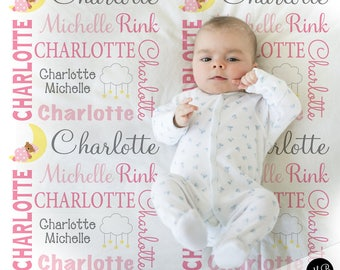 Teddy bear blanket etsy teddy bear moon baby blanket in pink and gray personalized baby gift sleepy moon negle Choice Image