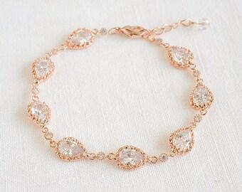 Rose Gold Wedding Bracelet, Bridal Bracelet, Crystal Bracelet, CZ Teardrop Tennis Bracelet, Vintage Style Wedding Bridal Jewelry, JUDITH