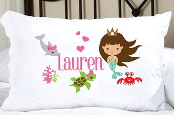 Personalized Pillow Case for Kids with Mermaid