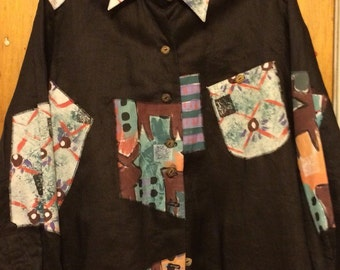 Wearable Art - Encore for Silkscapes Vintage Hand Painted Blouse, Black with Abstract Designs, 100% Cotton, Misses Size Large - Sale Price!