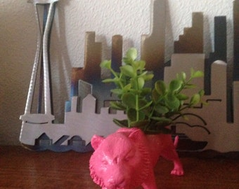Shel, the pink panther planter, with realistic plant