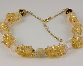 Ice Flake Quartz Necklace, Golden Glass Nuggets Necklace, Quartz Necklace, Golden Necklace,